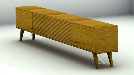 Teak Mid-Century Modern Scandinavian Style Sideboard