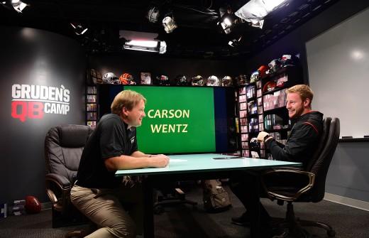 Jon Gruden (L) has a serious man-crush on Philadelphia Eagles QB Carson Wentz (R)