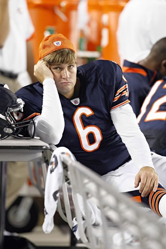 It was not a good night for Chicago Bears QB Jay Cutler who left the game with an undisclosed injury