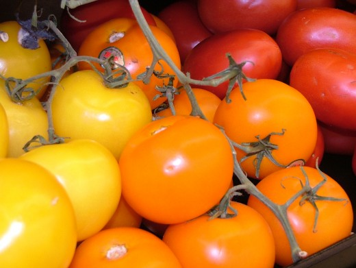 Tomatoes come in different sizes shapes colors and flavor. There always a tomato for a particular cooking job.