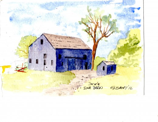 Gerry Short's watercolor of an Iowa barn