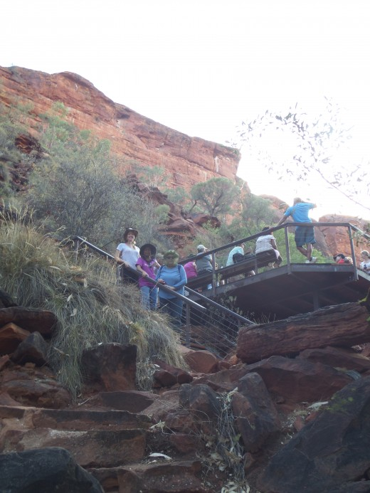 The viewing deck at the end of the base walk with the sandstone walls of the Canyon at the backdrop
