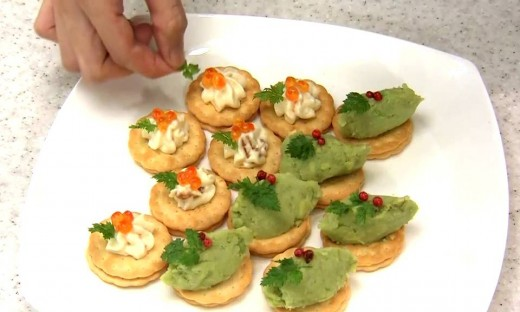 Garnish with salmon roe and chervil leaves.