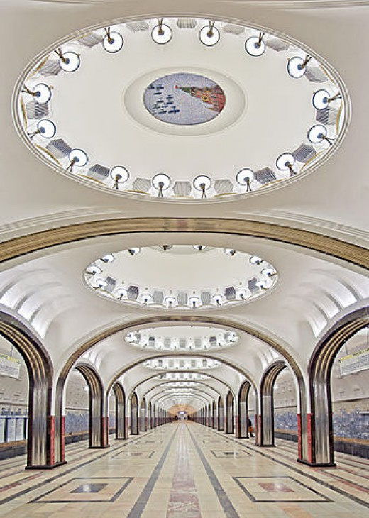 The Moscow Metro was one of the USSR's most ambitious architectural projects. The metro's artists and architects worked to design a structure that embodied svet (radiance or brilliance) and svetloe budushchee (a radiant future).