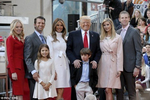 In order Tiffany Trump, Donald Trump Jr., Mrs.Melania Trump, President-Elect Trump, Ivanka, Eric, and Barron Trump
