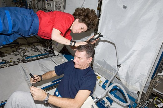 Haircuts also occur in space at the International Space Station. During the various Expeditions astronauts use hair clippers attached to vacuum devices for grooming their colleagues so that the cut hair will not drift inside the weightless environmen