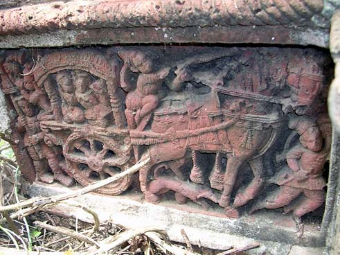 A chariot- mural on an old temple of Bengal.
