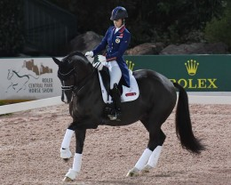 Three-time Olympic gold medalist and British rider Charlotte Dujardin riding Valegro.