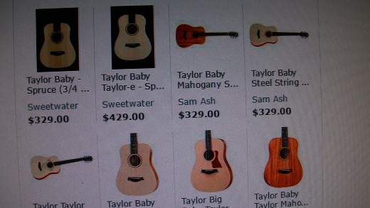 Good information om Baby Taylor's. Notice the different types of wood used. Cedar or Spruce can be used for the top.You can also get the Baby with a mahogany top.I prefer the Spruce as it has a brighter sound. The cedar is much warmer/