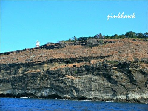 due to the big waves, the boat was not able to dock near the location of the lighthouse so we just saw it from afar