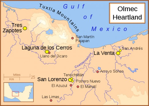 A map of the Olmec heartland. The yellow sites are known villages and towns. The smaller red dots mark locations where artifacts or art have been found unassociated with habitation.