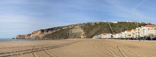 The beach and promontory of Nazare, west coast of Portugal