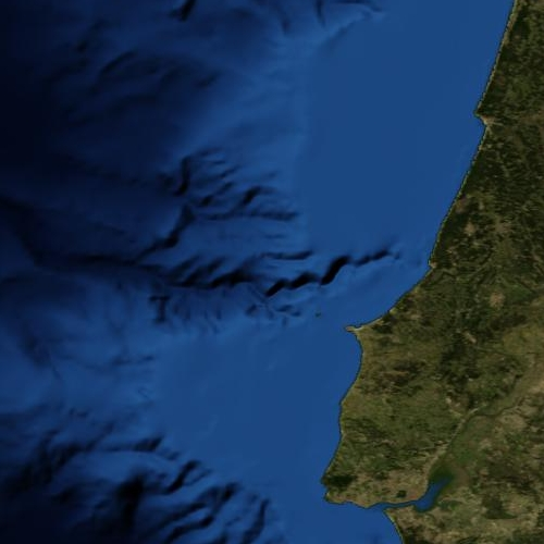 Coast of Central Portugal, showing the Nazaré Canyon. At 160 km, it's the longest marine canyon in Europe. Image from the Blue Marble set, December 2004.