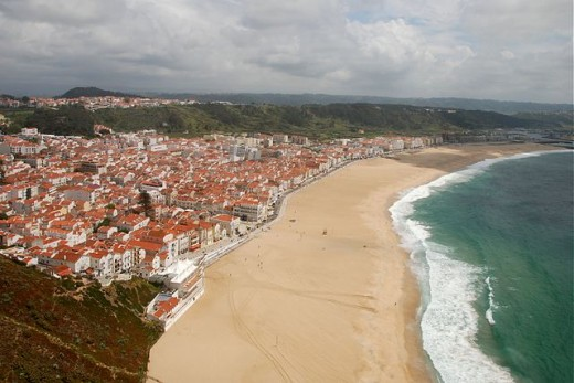 The beach of Nazaré, view from the Sítio. West coast of Portugal