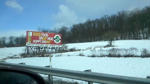 Good Food, Great Head, Hoppy Ending - ad for a brewery on the Pennsylvania turnpike