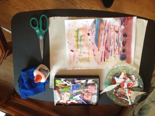 Glue, scissors, damp cloth (for glue mishaps), an array of collage papers, old photos or -- in this case -- scraps of paintings I made months ago and never did anything with!!
