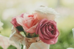 Wedding bouquet with a variety of pink roses.