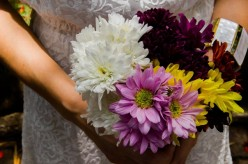 Wedding bouquet with selection of coloured flowers.