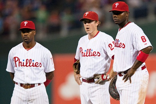 The core of the greatest era of Phillies baseball (left to right): Jimmy Rollins, Chase Utley and Ryan Howard.