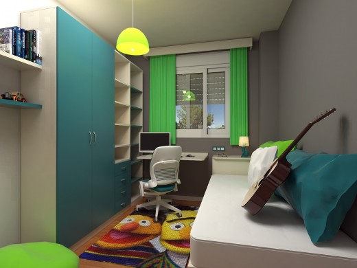 Blue and Green themed bedroom