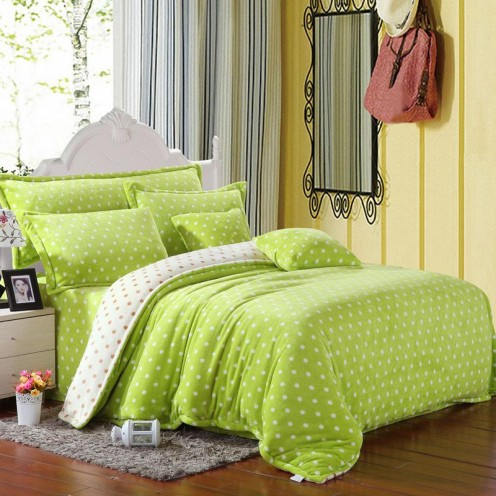 Yellow and green themed bedroom