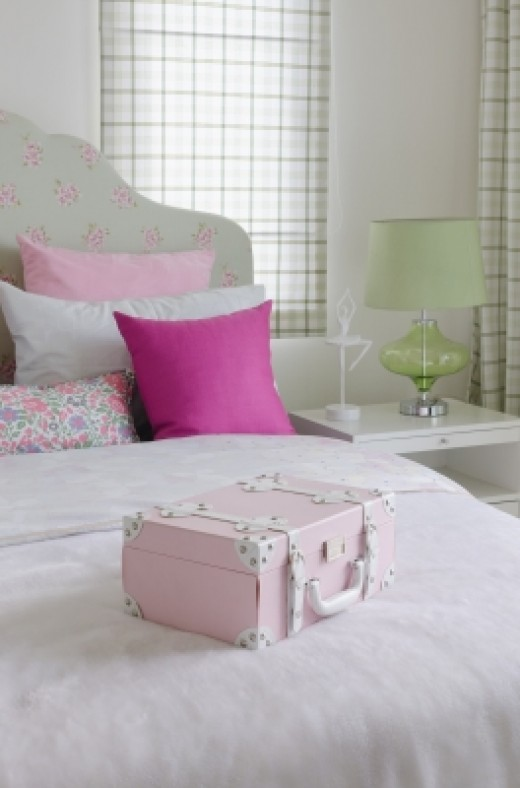 Pink, green and white girl's bedroom