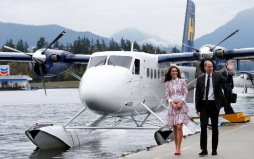 the couple travelled to Vancouver's Coal Harbour by seaplane