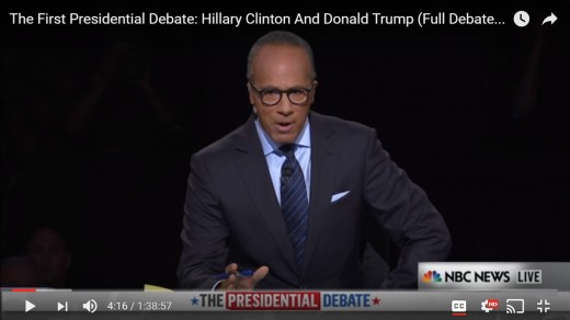 Lester Holt announces first Democrat nominee HRC and then Republican nominee DJT.