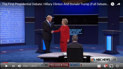 Distance between the candidates is less than before, as DJT's arm embraces HRC's back appearing to draw her closer. DJT's stance changes from square to face toward audience more.