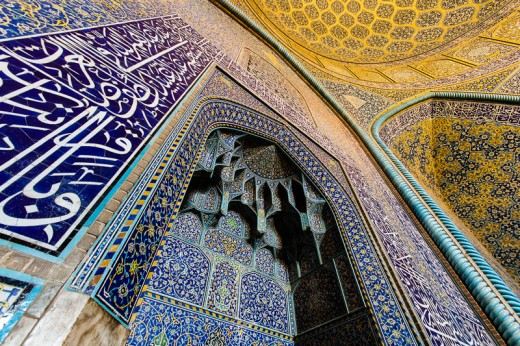 A mosque in Iran: Wall of Sheikh Lotfollah Mosque built in 1618