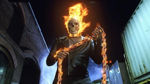 Ghost Rider with his flaming chain.  Copyright Sony Pictures, Columbia Pictures, and Marvel Entertainment via www.moviestillsdb.com.