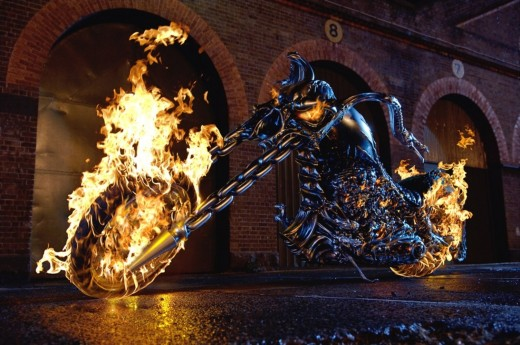Ghost Rider's Flaming Hellcycle.  Copyright Sony Pictures, Columbia Pictures, and Marvel Entertainment via www.moviestillsdb.com.