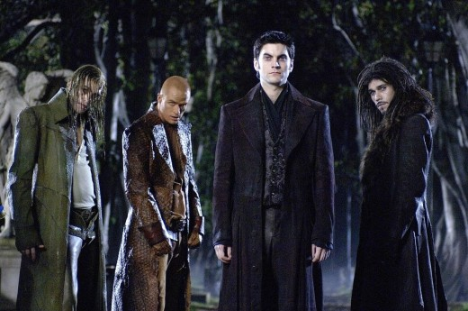 Wes Bentley (front) plays the demon Blackheart pictured here with three of his demon cohorts.  Copyright Sony Pictures, Columbia Pictures, and Marvel Entertainment via www.moviestillsdb.com.