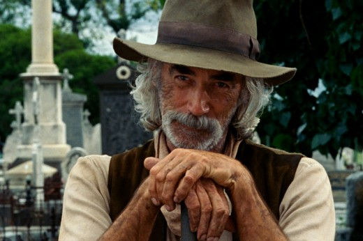 Sam Elliott plays Caretaker.  Copyright Sony Pictures, Columbia Pictures, and Marvel Entertainment via www.moviestillsdb.com.
