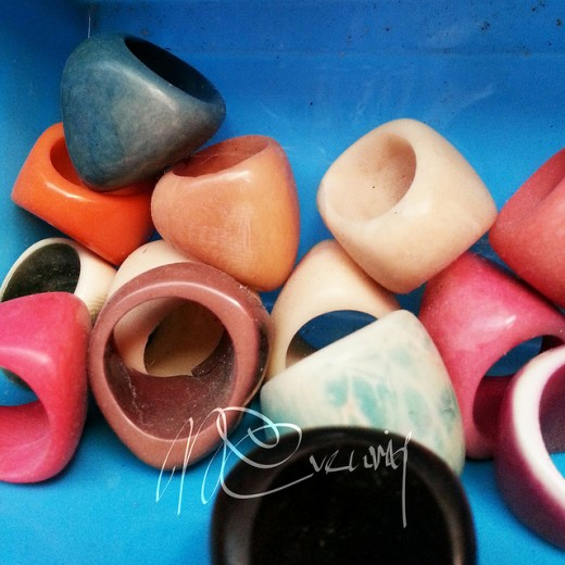 Rings carved from tagua in beautiful colors
