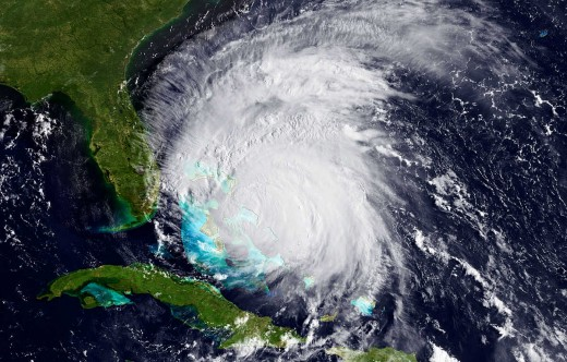 Hurricane Irene smothers the Bahama islands in August 2011.