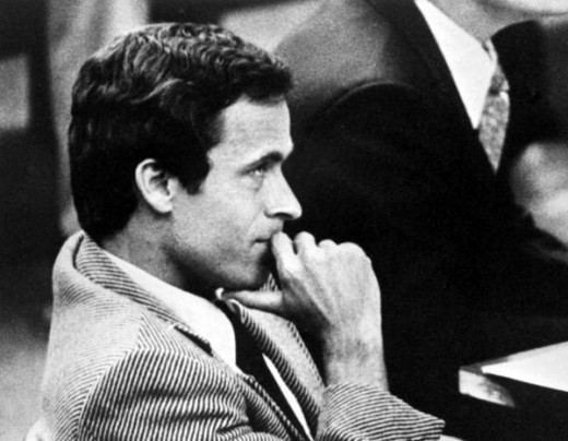 Photo of serial killer Ted Bundy in court.