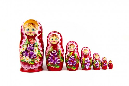 Traditional Russian doll set, also called the Matryoshka dolls.