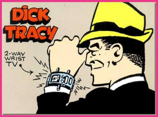 Dick Tracy (complete with his two-way wrist TV), as illustrated by creator Chester Gould.