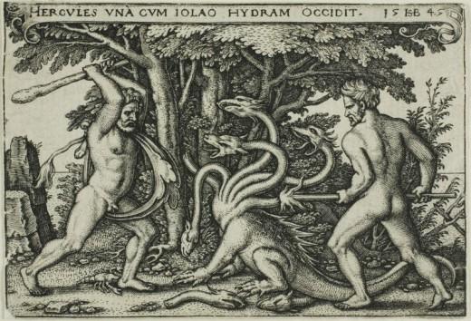 Sebald Beham, German, 1500-1550 Hercules and the Hydra, from The Labors of Hercules, 1545