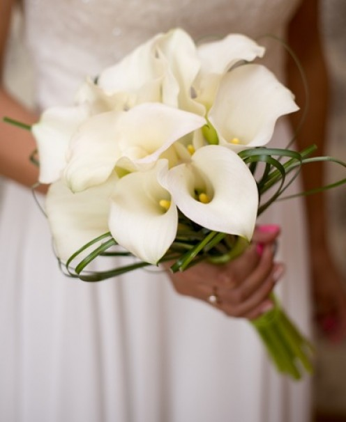 Wedding bouquet with white lillies.