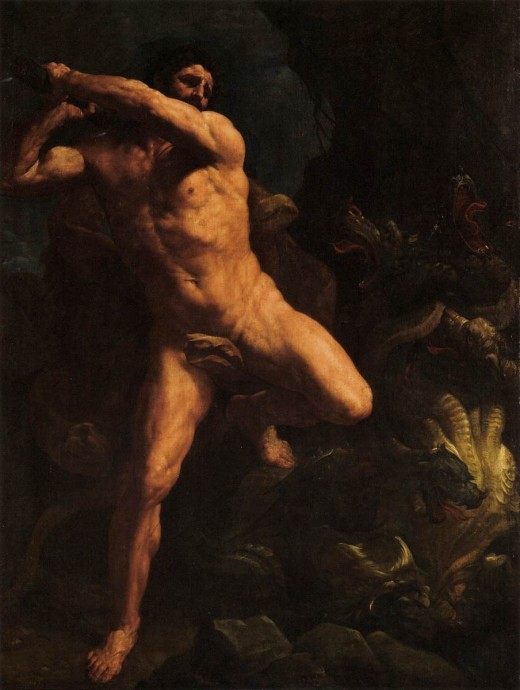 Hercules Vanquishing the Hydra of Lerma;  RENI, Guido (b. 1575, Calvenzano, d. 1642, Bologna)