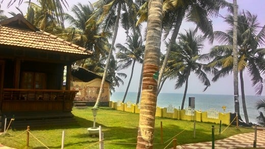 Varkala - here's where I've been living for the most part of my stay in India. In this picture you can see the resort grounds on the Black Beach of Varkala.