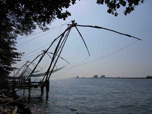 The famous Chinese fishing nets of Kochi. Fishermen use them to this day.