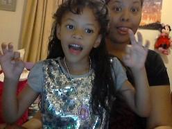 Maria and I goofing around on Skype