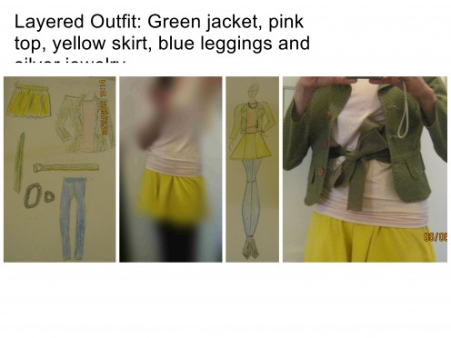 Layered outfit: Green jacket, pink top, yellow skirt, navy blue leggings and silver jewelry