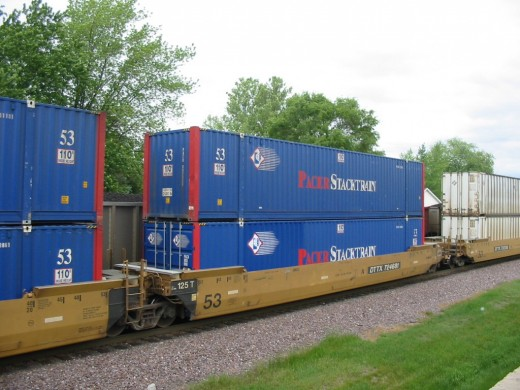 A double stack container train.