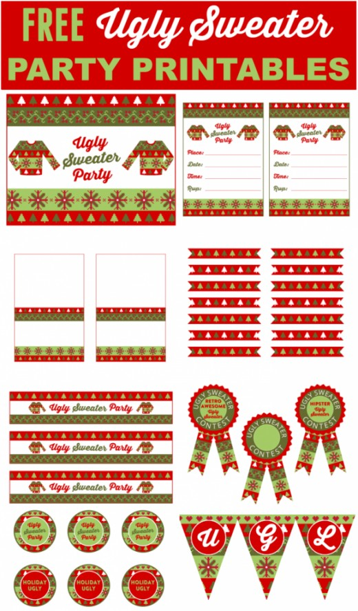 Catch My Party has some free Ugly Sweater Party Printables for you