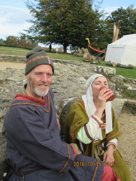Close to the Dormitory block at Battle Abbey, the musician and his wife take a rest after setting the scene for their performance
