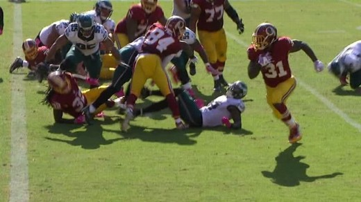 Washington Redskins RB Matt Jones rushed for a season-high 130 yards and a TD against the Eagles